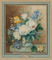 Bouquet of Peonies, Lilies, Petunias, Daffodils and Other Wildflowers by Gerardina Jacoba van de Sande Bakhuyzen