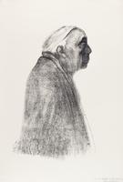 Selbstbildnis in Profile nach rechts 1938 / Klipstein/265/IIIb by Käthe Kollwitz