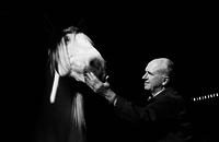 James A. Michener Interacting with a horse. ca. 1960's