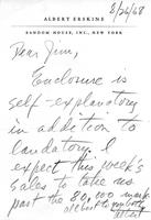 Albert Erskine to James A. Michener, August 26, 1968