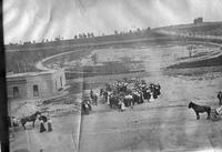 Group assembling outside a track, State Normal School campus