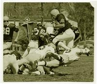 Action shot of the defensive unit of the University of Northern Colorado football team, 1974.