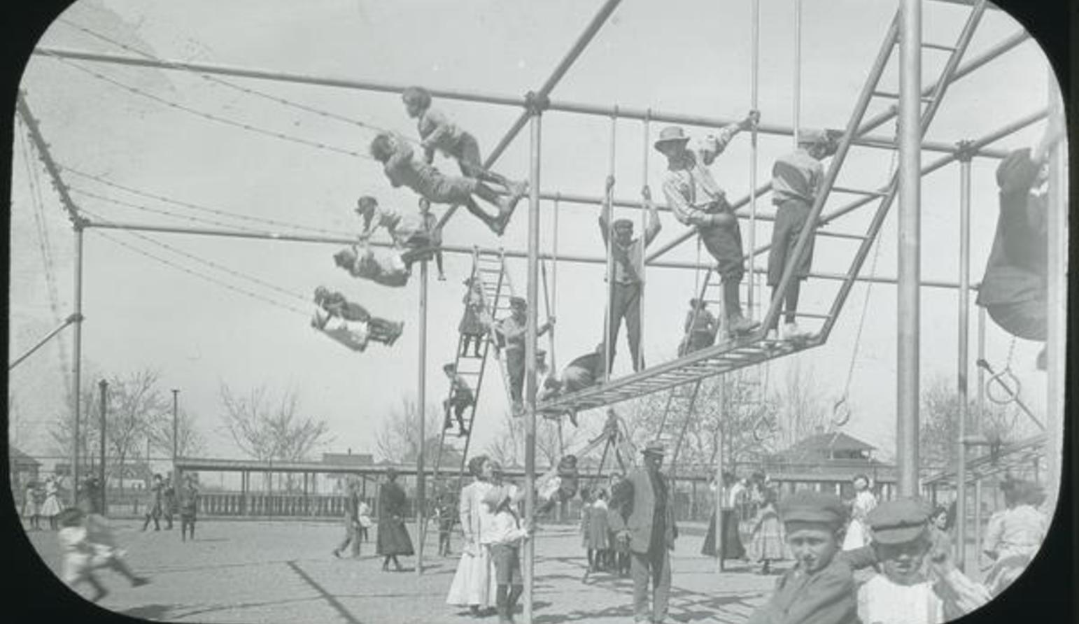 Children playing on outdoor playground