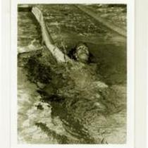 Male swimmer doing the backstroke, University of Northern Colorado, 1980