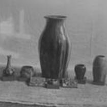 Glazed pottery display, State Normal School campus