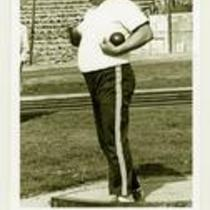 Unidentified shot-putter, University of Northern Colorado, ca. 1980s.