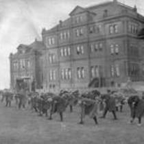 Women's calisthenics outside Cranford Hall, State Normal School