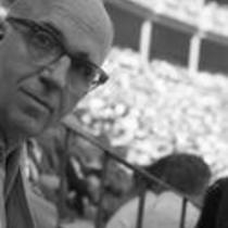 James A. Michener in a stadium audience