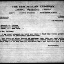 1946-02-19 Letter from James Michener to Harold S. Latham