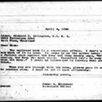 1946-04-04 Letter from James A. Michener to Lieutenant Richard C. Arlington
