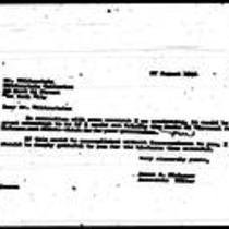 1946-08-27 Letter from James A. Michener to Mr. Wildenstein