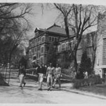 Cranford Hall exterior, college students