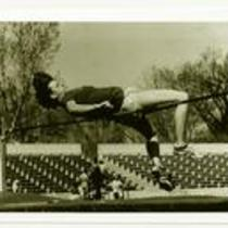 Unidentified high jumper, University of Northern Colorado, ca. 1980s.