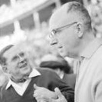 James A. Michener in a stadium