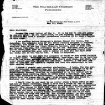 1945-05-17 Letter from The Macmillan Company, President's Office, to James A. Michener