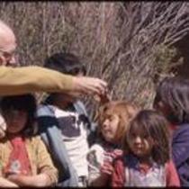 James A. Michener and children, Cusihuiriachi, Chihuahua, Mexico