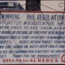 Swimming pool sign, Tierra Blanca Motel, Chihuahua, Mexico