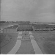 Bishop-Lehr Hall exterior, aerial view, 1962