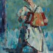 Woman with Accordion by Larry Prestwich