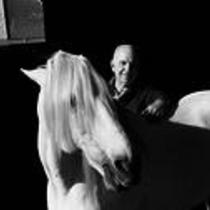 James A. Michener interacting with a horse