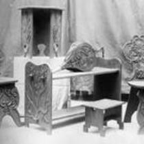 Collection of carved wooden objects, State Normal School campus