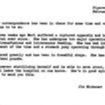 James A. Michener to unknown recipient, February 23, 1967