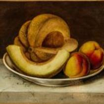 Still Life with Cantaloupe and Peaches by Susan Waters