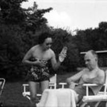 James A. and Mari Michener wearing bathing suits