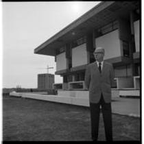 James A. Michener in front of Michener Library, ca. 1972
