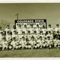 Colorado State College baseball team poses after winning the Rocky Mountain Faculty Athletic Conference, 1962