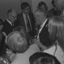 James A. Michener mingles at the Michener Library dedication, 1972
