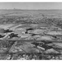Aerial view of University Library under construction, early 1970s
