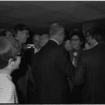 James A. Michener mingles at Michener Library dedication ceremony, 1972