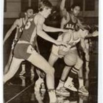 Action shot, Colorado State College vs. Adams State College basketball game, ca. 1960s.