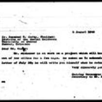 1946-08-05 Letter from Shirley Untermyer to Dr. Raymond G. Carey