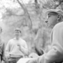 James A. Michener, John Fulton and Robert Daley in a forest