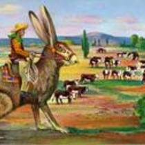 Cowboy Punching Cattle on a Jack Rabbit.  Circa 1957-1970