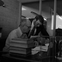 James A. Michener and Dr. J. Gilbert Hause, ca. 1972