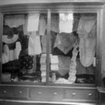 Textiles in a display cabinet, State Normal School