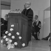 James A. Michener speaks during the dedication of Michener Library, 1972