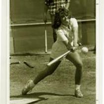 Women's softball action shot, University of Northern Colorado, ca. 1980s.