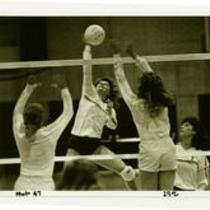 Action shot, University of Northern Colorado volleyball, ca. 1980s