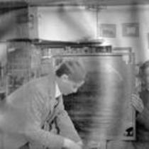 Two men in a laboratory, State Normal School