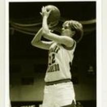 Free throw attempt, University of Northern Colorado vs. University of Nebraska-Omaha women's basketball game, 1990.