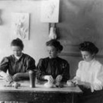 Women forming objects with clay, State Normal School