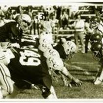 Offensive line, University of Northern Colorado football game, ca. 1980s.