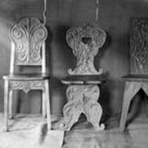 Three carved chairs, State Normal School