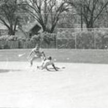 Action shot, University of Northern Colorado baseball game, 1976.