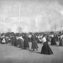 Women participating in an unidentified exercise, State Normal School campus