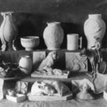 Ceramic sculpture pieces, State Normal School campus